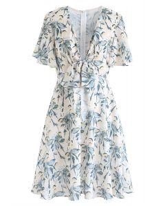 Feverfew Print Decorated Knotted Midi Dress