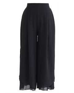 Split Pleated Hem Crop Chiffon Pants in Black