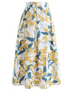Rosehip Pattern Pleated Midi Skirt in White