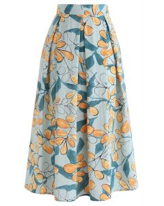 Rosehip Pattern Pleated Midi Skirt in Pea Green