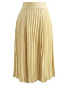 Satin Full Pleated Midi Skirt in Yellow