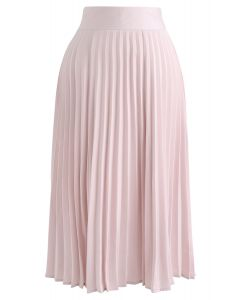 Satin Full Pleated Midi Skirt in Pink