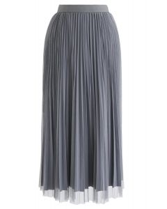 Reversible Pleated Midi Skirt in Grey