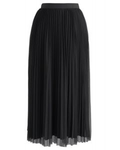Reversible Pleated Midi Skirt in Black