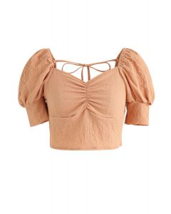 Shirred Back Sweetheart Neck Crop Top in Orange