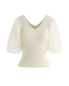Mesh Sleeves V-Neck Fitted Knit Top in Cream