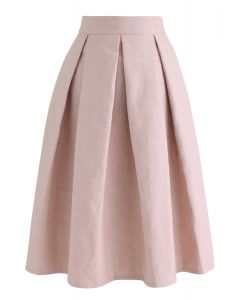 Light Pink Jacquard A-Line Pleated Midi Skirt