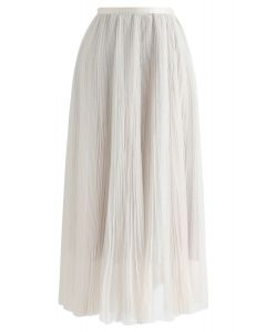 Glittering Mesh Pleated Midi Skirt in Cream