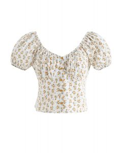 Ditsy Floral Embossed Shirred Crop Top in Ivory