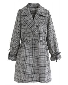 Tailored Plaid Pattern Pocket Coat