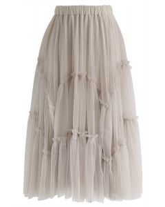 Ruffle Detail Asymmetric Mesh Tulle Skirt in Dusty Pink