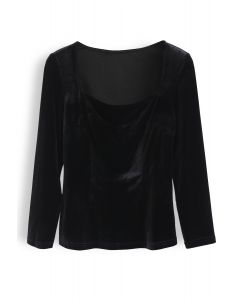 Square Neck Seam Detail Velvet Top