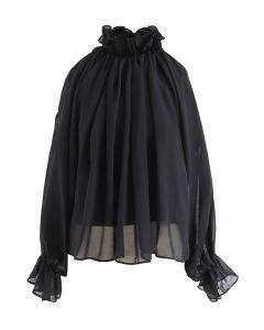 Ruffle Tied-Neck Cold-Shoulder Sheer Top in Black