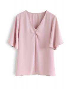 Flare Sleeves Front Twisted Top in Pink