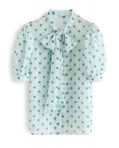 Tie-Neck Dotted Sheer Top in Mint