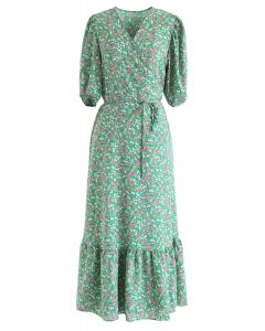 Allured Floret Wrapped Dress in Green