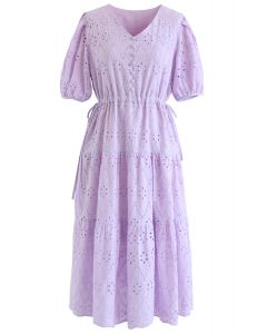 Zigzag Eyelet Floral Embroidered Flare Midi Dress in Lilac