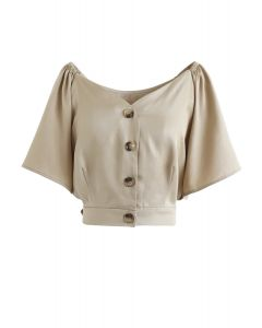 Horn Button Sweetheart Neck Bowknot Crop Top in Tan