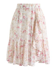 Floral Print Ruffle Eyelet Embroidered Chiffon Skirt in Pink