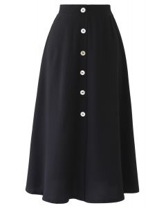 Split Shell Button Trim Midi Skirt in Black