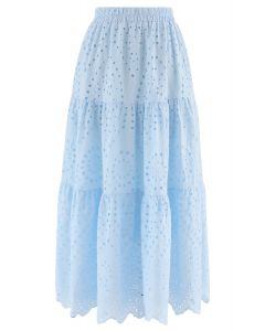 Frill Hem Broderie Cotton Midi Skirt in Baby Blue
