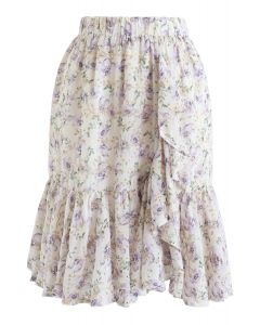 Floral Print Ruffle Eyelet Embroidered Chiffon Skirt in Lilac