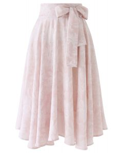 Sassy Leaves Jacquard Bowknot Waist Midi Skirt in Light Pink