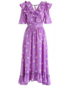 Aflutter Bouquets Print Wrap Maxi Dress in Purple