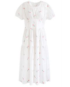 Pink Posy Embroidered Eyelet Open Back Dress