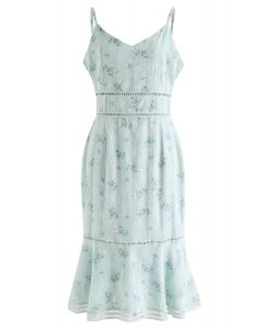 Bouquet Printed Stripe Embossed Bodycon Cami Dress in Mint
