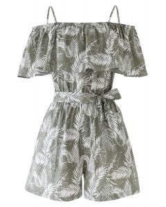 Plantain Leaves Cami Playsuit in Olive
