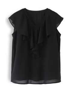 Drape V-Neck Sleeveless Chiffon Top in Black