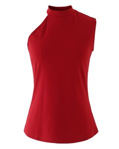 One Shoulder Fitted Cotton Halter Tank Top in Red