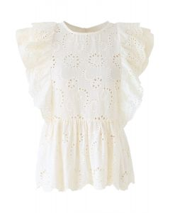 Ruffle Trim Eyelet Embroidery Sleeveless Top in Cream