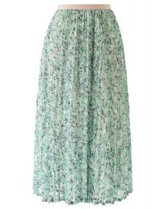 Green Garden Lace Pleated Midi Skirt