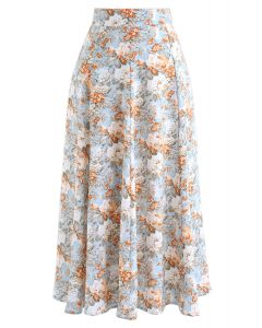 Opulent Floral Print A-Line Midi Skirt