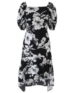 Retro Blossom Hi-Lo Dress in Black