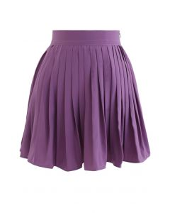 Pleated Skater Skirt in Purple
