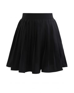 Pleated Skater Skirt in Black