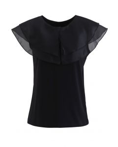 Tiered Organza Trim Sleeveless Top in Black