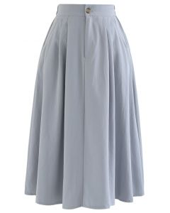 Slant Pockets A-Line Midi Skirt in Dusty Blue
