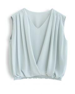 Sleeveless V-Neck Pleated Chiffon Top in Pea Green