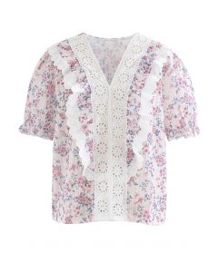 V-Neck Eyelet Floral Print Embroidered Top in Pink