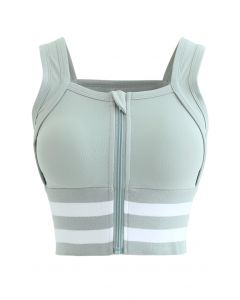 Ribbed Block Stripe Zip Front High-Impact Sports Bra in Mint