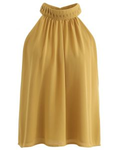 Pleats Embellished Halter Top in Mustard