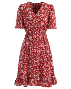Blissful Floret Print Frill Hem Wrap Midi Dress in Red