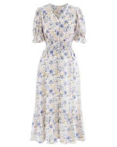 Crystal and Pearl Trim Frilling Floral Chiffon Dress in Blue