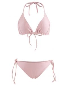 Self-Tied String Halter Bikini Set in Dusty Pink