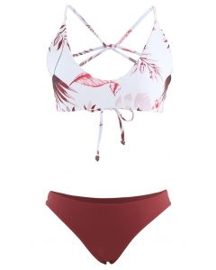 Leaf Print Open Back Bikini Set in Burgundy