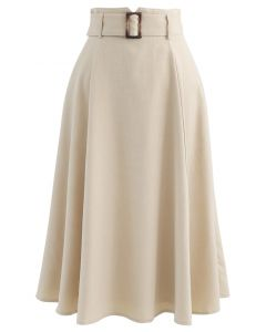 Belted Paper-Bag Waist A-Line Midi Skirt in Sand